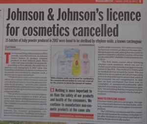 J&J Baby Powder Contained Cancer Causing Substance